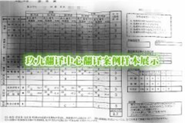 成绩单翻译 日本成绩单翻译-学习证明翻译案例-国外大学成绩单翻译