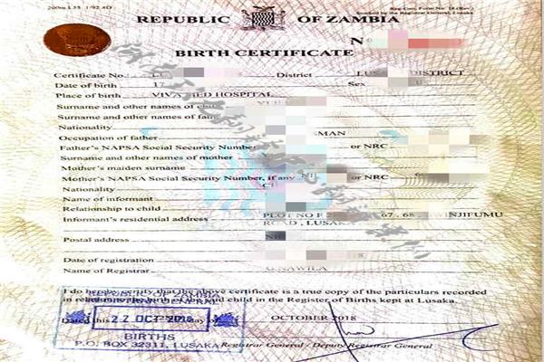 赞比亚出生证明翻译国外出生证明翻译机构